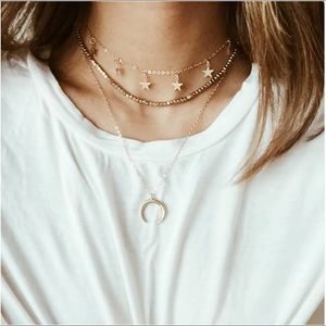 Gold Star Horn Brandy Melville Choker Necklace